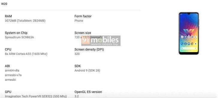 LG W20手机配置曝光:采用水滴屏设计 搭载紫光展锐虎贲SC9863A芯片