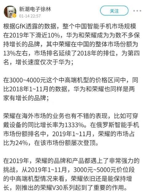 逆势大涨 荣耀2月线上线下日销量远超去年同期