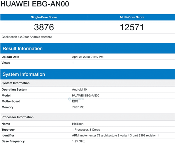 荣耀30 Pro Geekbench跑分现身:配备8GB内存,运行Android 10系统